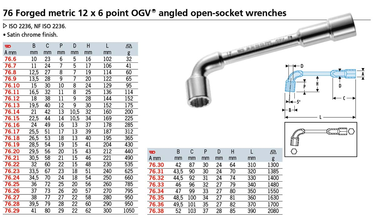 Angled Socket Wrench 76 Series 12x6pt 8mm