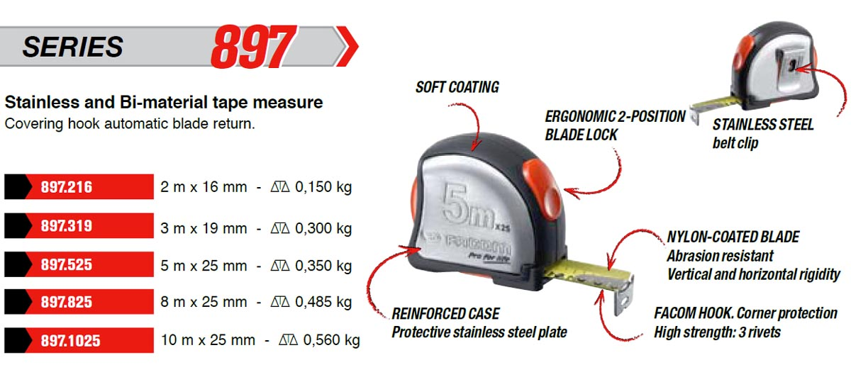 Tape Measure Metric W Stainless Steel Case 3m 897 319