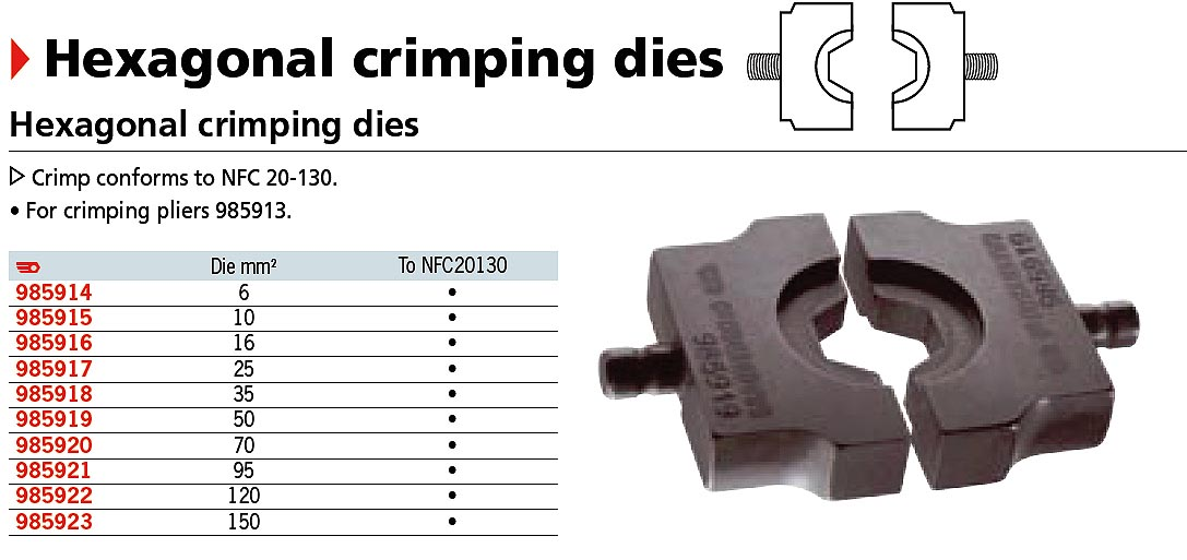 Hex Crimp Die Set 6 Gt 150mm2 10pc 5 Savings