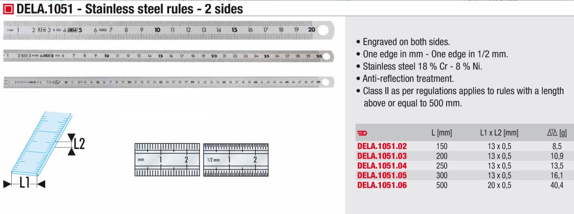 Stainless Steel 2 Sided Ruler 500mm 5mm Scale Dela