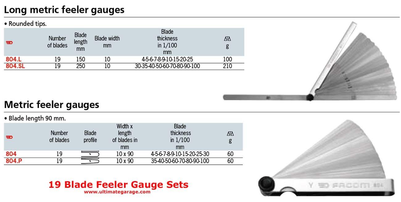 Feeler Gauge Set 19 Blades Metric Tapered Tips 804 P