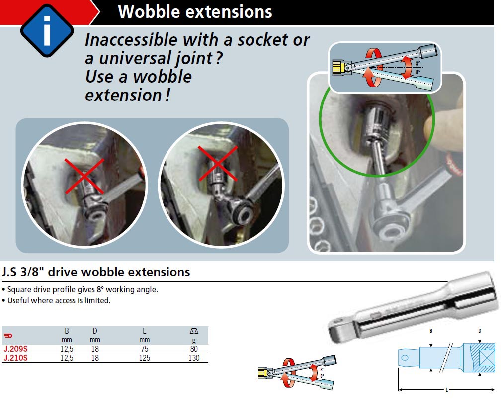 125mm 1//2 SK Hand Tool Wobble Extension
