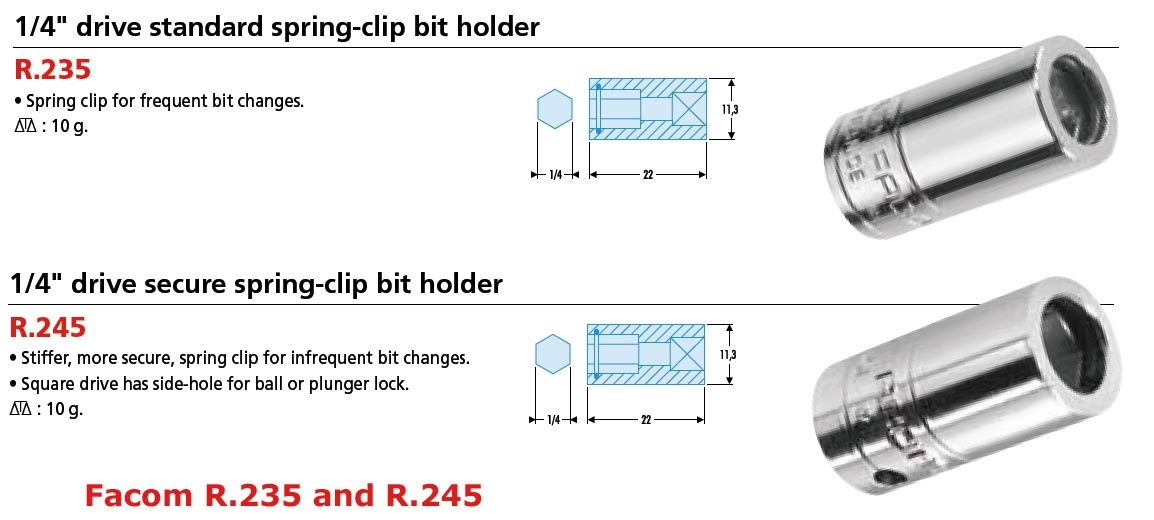 1 4 Quot Drive Bit Holder With Standard Spring Clip R 235