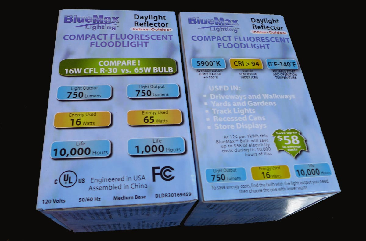 BlueMax R30 Full Spectrum CFL bulb 65w Repl5pack used